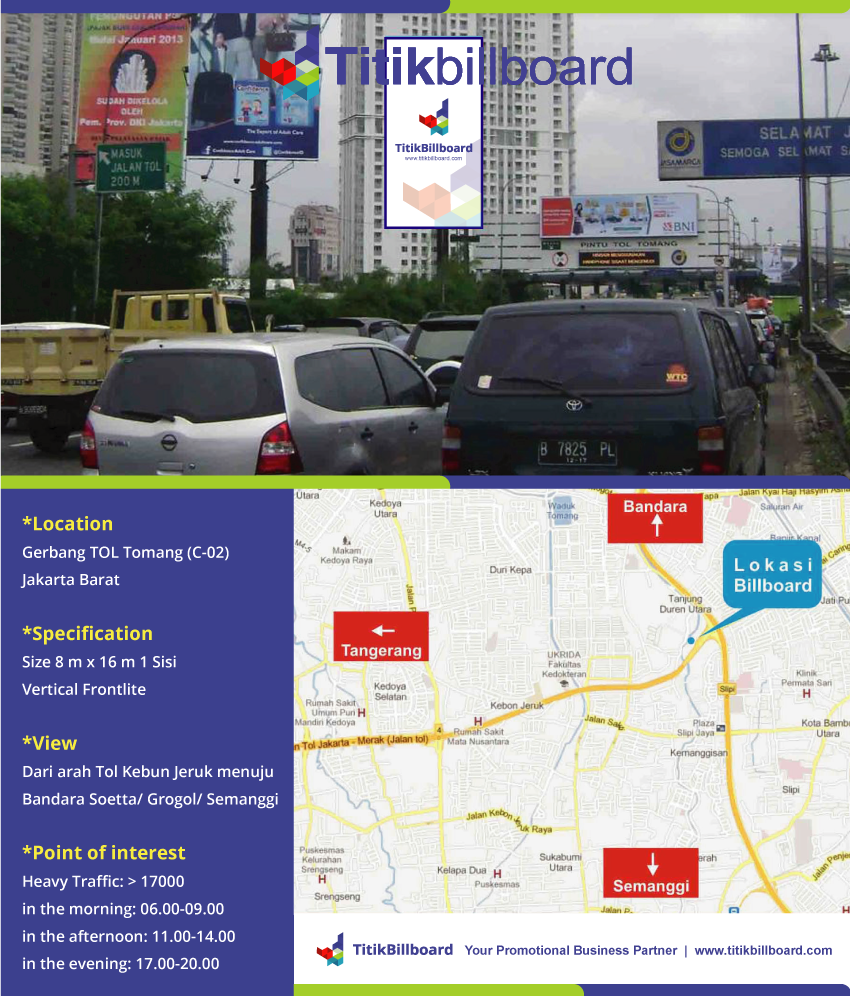 Lokasi Billboard Tol Tomang Jakarta Barat
